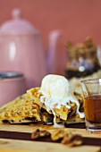 Waffles with coconut and vanilla ice cream and agave syrup