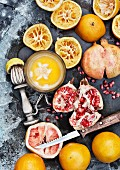 Fresh juice with oranges, grapefruits and lime
