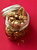 Cantuccini (almond biscuits, Italy) in a jar