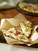 Tarte flambée with bacon and leek