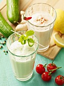 Savoury vegetable shakes with cucumber, tomato, chilli and ginger