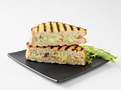 Toasted sandwich with surimi and avocado