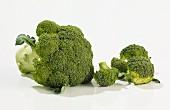 A whole broccoli and florets