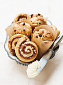 Mini panettone and cinnamon Danish pastries