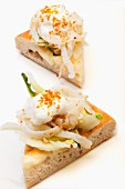 Pizza with squid, chicory, yoghurt foam and grey mullet roe