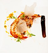 Grilled prawns with ginger and liquorice
