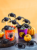 Spooky spider truffle pops