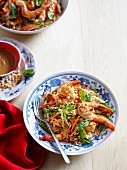 Noodle salad with king prawns (Asia)