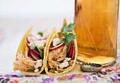 Beer and Mexican chicken tacos