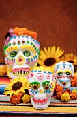 Decorated skulls for Day of the Dead celebration