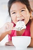Korean girl eating ice cream