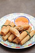 Asian spring rolls on plate