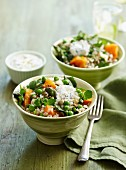 Brown rice salad with squash, peas and tzatziki