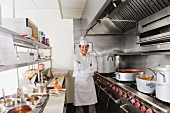 Hispanic cook in commercial kitchen