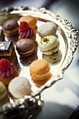 Assorted macaroons on a silver tray