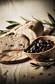 Olive bread and black olives