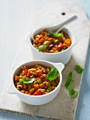 Bean stew with tomatoes and basil