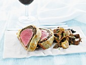 Beef Wellington (beef fillet in puff pastry) with mushrooms
