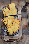 Financiers with chocolate in a wire basket