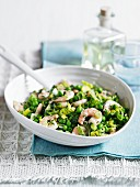 Pea salad with king prawns and tarragon