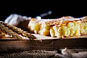 Bougatsa (breakfast pastry made from filo pastry and semolina pudding with cinnamon, Greece)