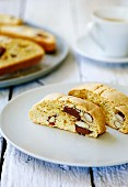 Almond biscotti with milk chocolate
