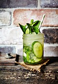 Mojito with cucumber and fresh mint