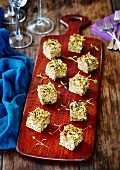 Frittata cubes with edible shoots