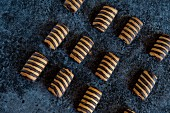 Biscuits with stripes of chocolate