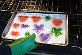 Pan of Sugar Cookies Being Placed in Oven