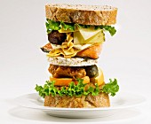 Sandwich tower with unusual ingredients