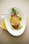 Mozzarella mit knuspriger Panade auf Basilikumschaum