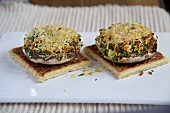 Stuffed portobello mushrooms, topped with cheese and baked