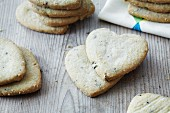 Heart-shaped vanilla biscuits