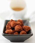 Chocolate truffles with coffee