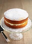 Gluten-free lemon sponge cake with icing sugar