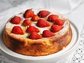 Gluten-free cheesecake with strawberries