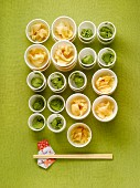 Cups of Ginger and Wasabi with Chopsticks