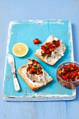Ciabatta with smoked mackerel and tomato salsa