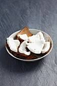 Pieces of coconut in a bowl