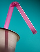 Single Bendable Straw in Plastic Cup