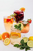 White and Red Sangria in Glasses