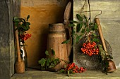 A rustic arrangement of rowan berries
