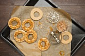 Round biscuits on a baking tray
