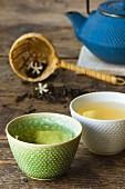 Jasmine tea in tea bowls