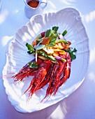 King prawns with asparagus salad