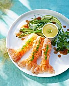 Scampi with asparagus salad and wasabi