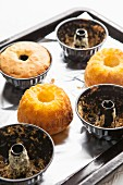 Mini Bundt cakes in baking tins