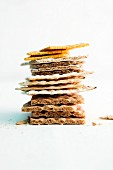 A stack of various crispbreads