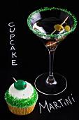 A martini and a martini cupcake